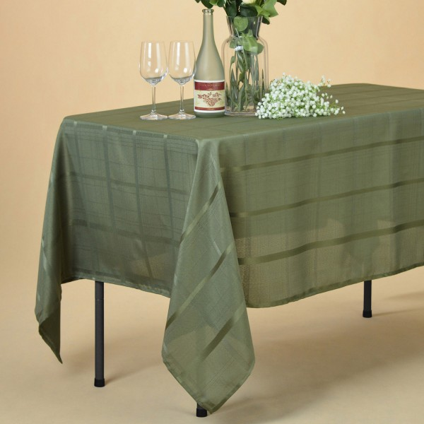 Striped Rectangular Oblong Polyester Waterproof Tablecloth