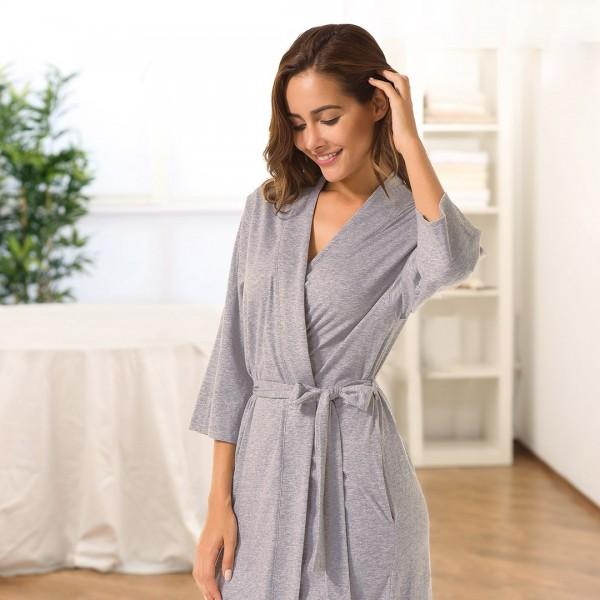 Women's Essential Organic Cotton Robe--YP17001CT37CP-img